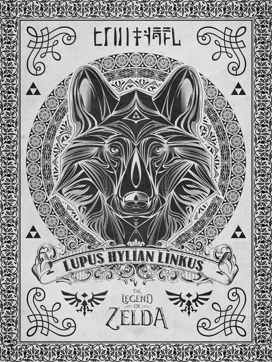 Legend of Zelda Twilight Wolf Link Line Art Art Print