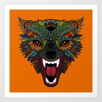 wolf fight flight orange Art Print