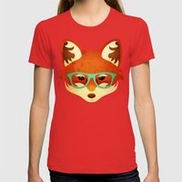 Hipster Fox: Azure Womens Fitted Tee Red SMALL