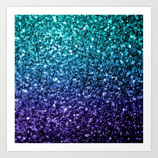 Beautiful Aqua Blue Ombre Glitter Sparkles Art Print By