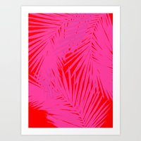 Palms Pink & Red Art Print