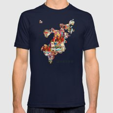 Boston Map Mens Fitted Tee Navy SMALL