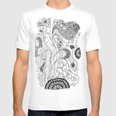 Geometric Stream SMALL White Mens Fitted Tee