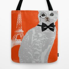 Wise cat with bow and tie Tote Bag
