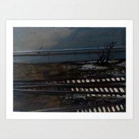 Snow on the Tracks Art Print
