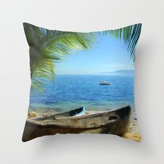 Boats at Las Caletas Throw Pillow