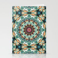 Ornate Orange And Green Abstract Stationery Cards