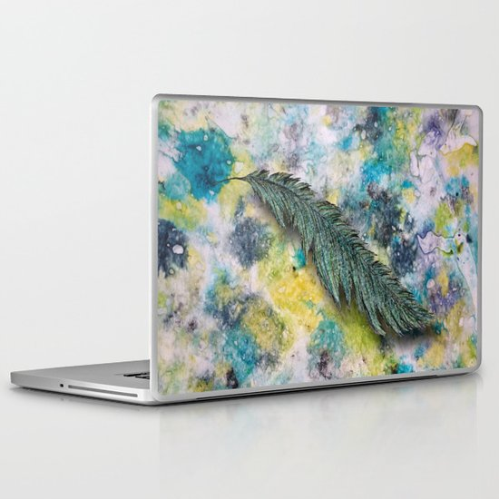 CRAYON LOVE: Aqua Feather Laptop & iPad Skin