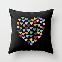 Hearts Heart Black Throw Pillow