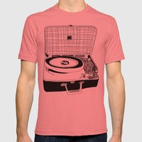 Record Player Mens Fitted Tee Pomegranate SMALL