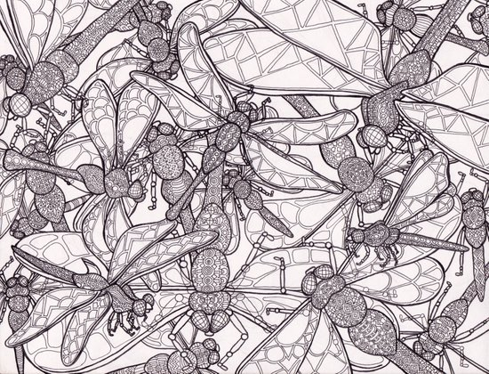 Dragonfly Disco (outline) Art Print