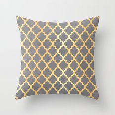 Moroccan Gold & Grey Throw Pillow