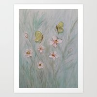 Butterfly Wishes and Flower Kisses Art Print