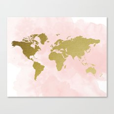 Gold World Map Poster Canvas Print