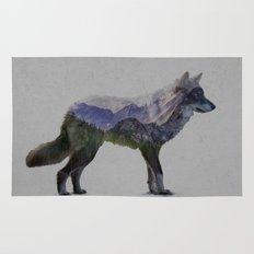 The Rocky Mountain Gray Wolf Rug