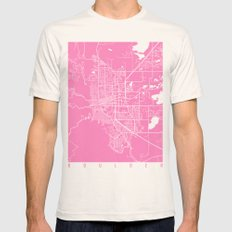 Boulder Map Pink Mens Fitted Tee Natural SMALL