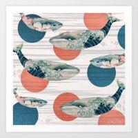 Whales and Polka Dots Art Print