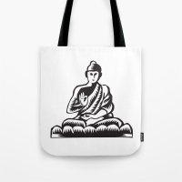 Buddha Lotus Pose Woodcut Tote Bag
