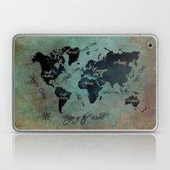 World Map Text Laptop & iPad Skin
