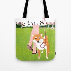 Shiba inu in Central Park Tote Bag