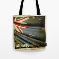 Grunge sticker of New Zealand flag Tote Bag