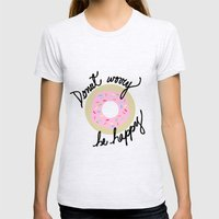 Donut Worry Be Happy Womens Fitted Tee Ash Grey SMALL