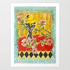 Goldfinch on Dogwood Art Print