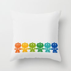 Rainbow Robots Holding Hands Throw Pillow