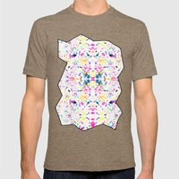 Paint Splatter - White Mens Fitted Tee Tri-Coffee SMALL