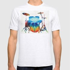 Drum Set Art - Color Fusion Drums - By Sharon Cummings Mens Fitted Tee Ash Grey SMALL