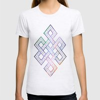 Tibetan Knot/Seed Of Lif… Womens Fitted Tee Ash Grey SMALL