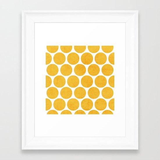 yellow polka dots Framed Art Print