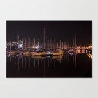 Swansea Marina At Night. Canvas Print