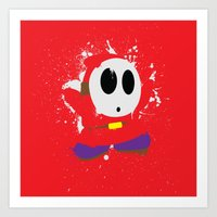 Red Shy Guy Splattery De… Art Print