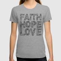 Faith Hope & Love Womens Fitted Tee Athletic Grey SMALL