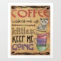 Kitties & Coffee Art Print