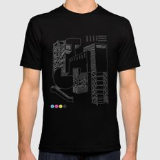 Construction SMALL Black Mens Fitted Tee