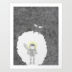 Brave Grey Warrior Art Print
