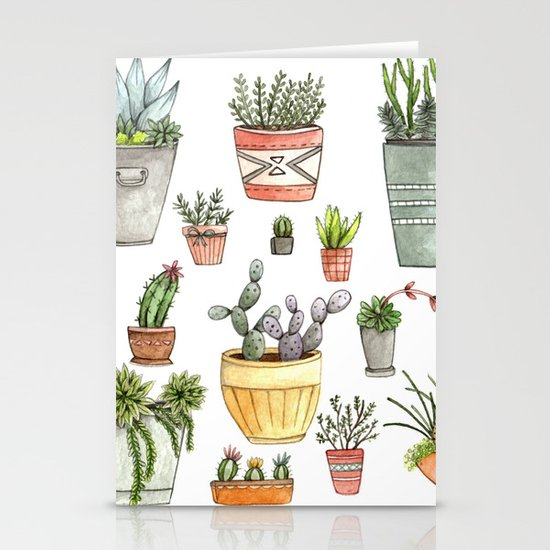Potted Succulents Stationery Card