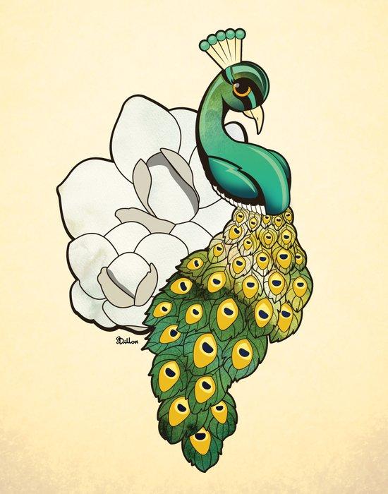 Magnolia Peacock Art Print