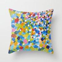 SWEPT AWAY 1 - Bright Colorful Rainbow Blue Ocean Waves Mermaid Splash Abstract Acrylic Painting Throw Pillow