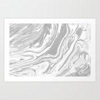 Marble - Grey Wash Art Print