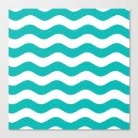 Wavy Stripes (Tiffany Blue/White) Canvas Print