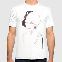 Fashion illustration in watercolors Mens Fitted Tee White SMALL