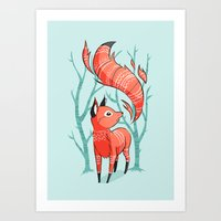 fox Art Prints featuring Winter Fox by Freeminds