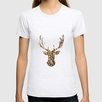 deer flowers Womens Fitted Tee Ash Grey SMALL