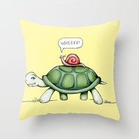 The Snail & The Turtle Throw Pillow