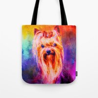 Jazzy Yorkshire Terrier Colorful Dog Art by Jai Johnson Tote Bag