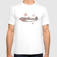 Fighter Plane Mens Fitted Tee White SMALL