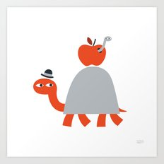 Turtle and Worm Art Print